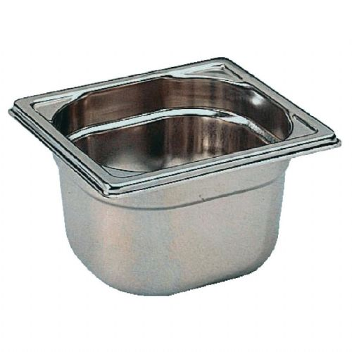 Premier Stainless Steel Gastronorm Pan - 1/6 Sixth Size. 6.5cm